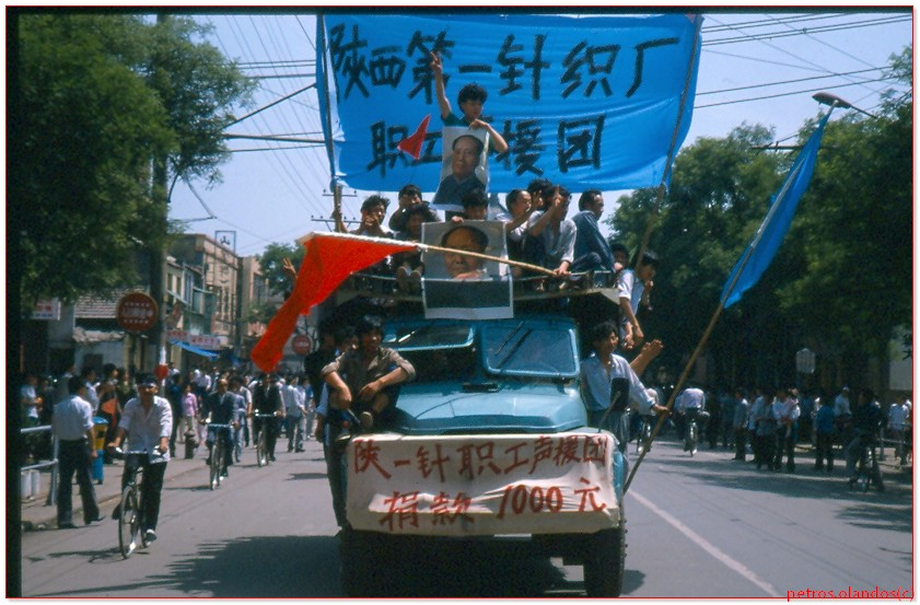 china students on route truck 1989 June 4th